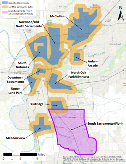 Map showing the locations of the 10 identified communities in Sacramento County.